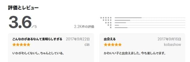 ワクワク App Storeの評価