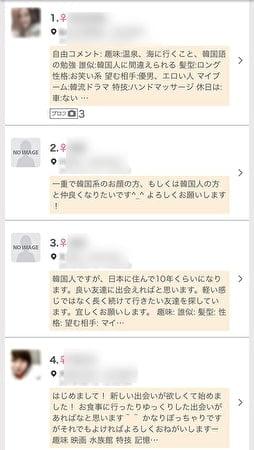 ワクワクメールで韓国人を探した結果