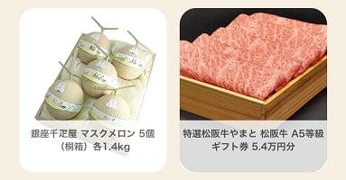 ワクワクメールのクリスマスキャンペーン 1等 銀座千疋屋のマスクメロンとA5等級松坂牛