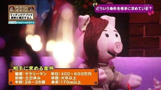 NHK・Eテレねほりんぱほりん マッチングアプリで婚活する人 男性に求める条件